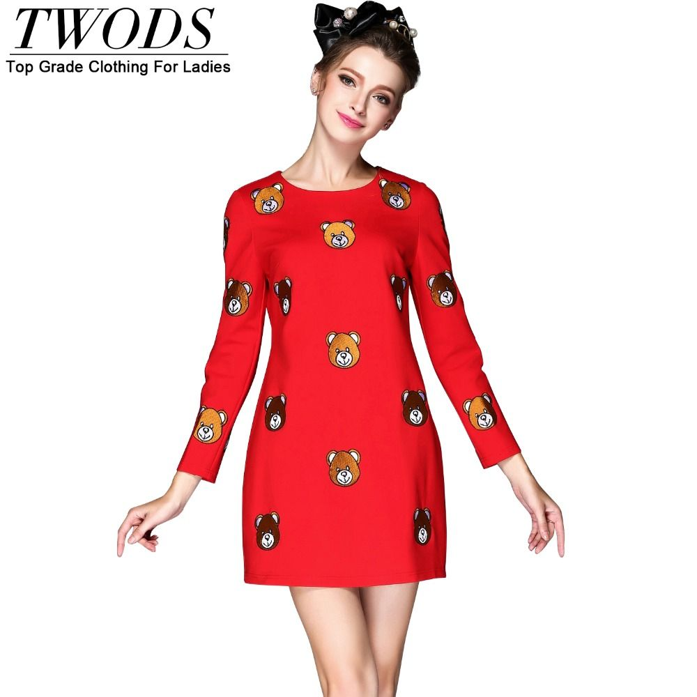 S xl embroidery bear pattern autumn dress black red long sleeve