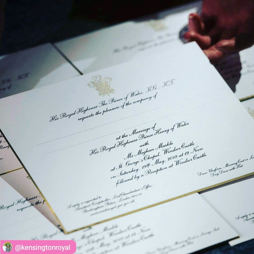 The invitations to the wedding of HRH