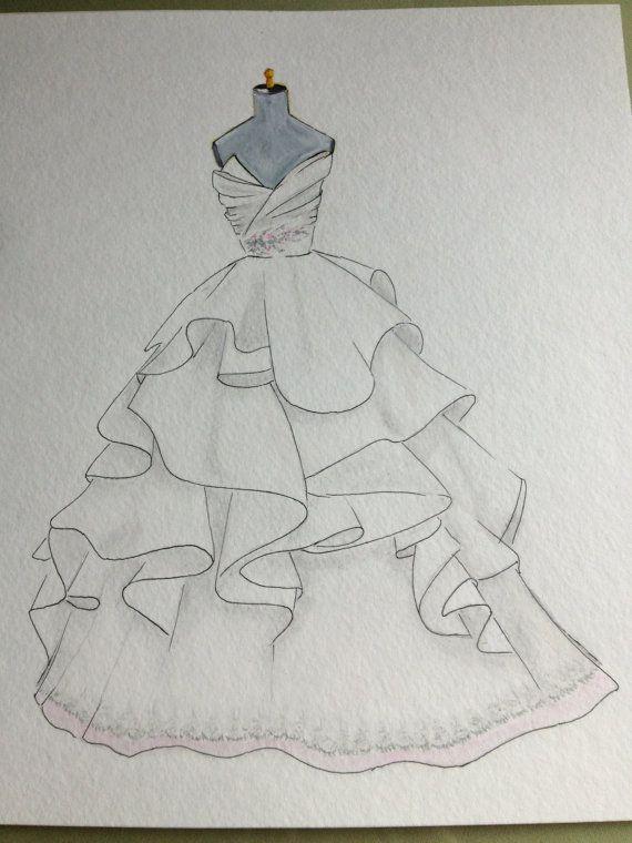 Custom wedding dress illustration original watercolor and by Zoia, $75.00
