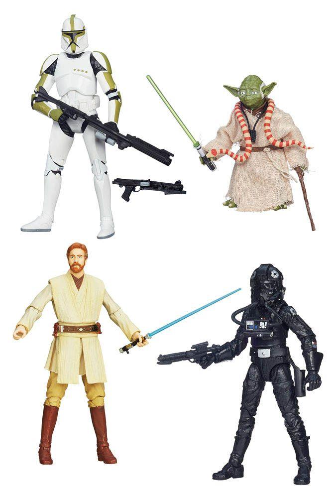 Pack 4 figuras Star Wars 15 cm. Línea Black Series nº 4. Hasbro Bonito pack formado por hasta 4 figuras articuladas de algunos de los protagonistas que hemos podido ver en la exitosa saga de Star Wars, 100% oficiales y licenciadas y fabricadas en material de PVC.