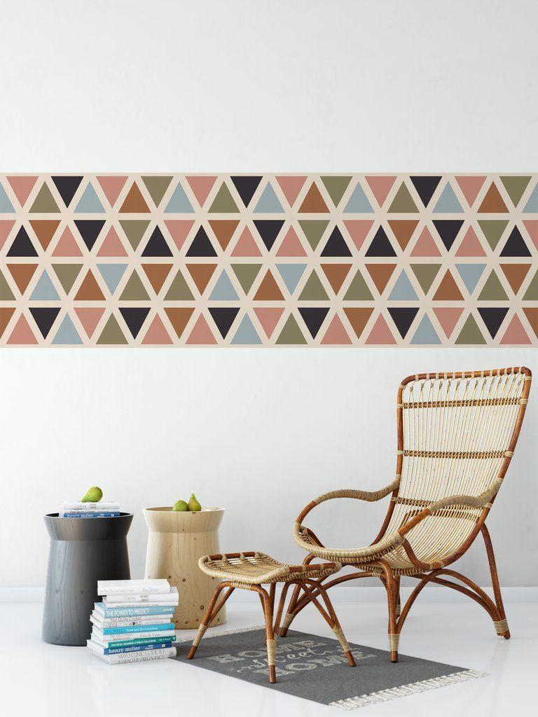 Multi Pastel Geometric Triangle Repeat Wallpaper Border