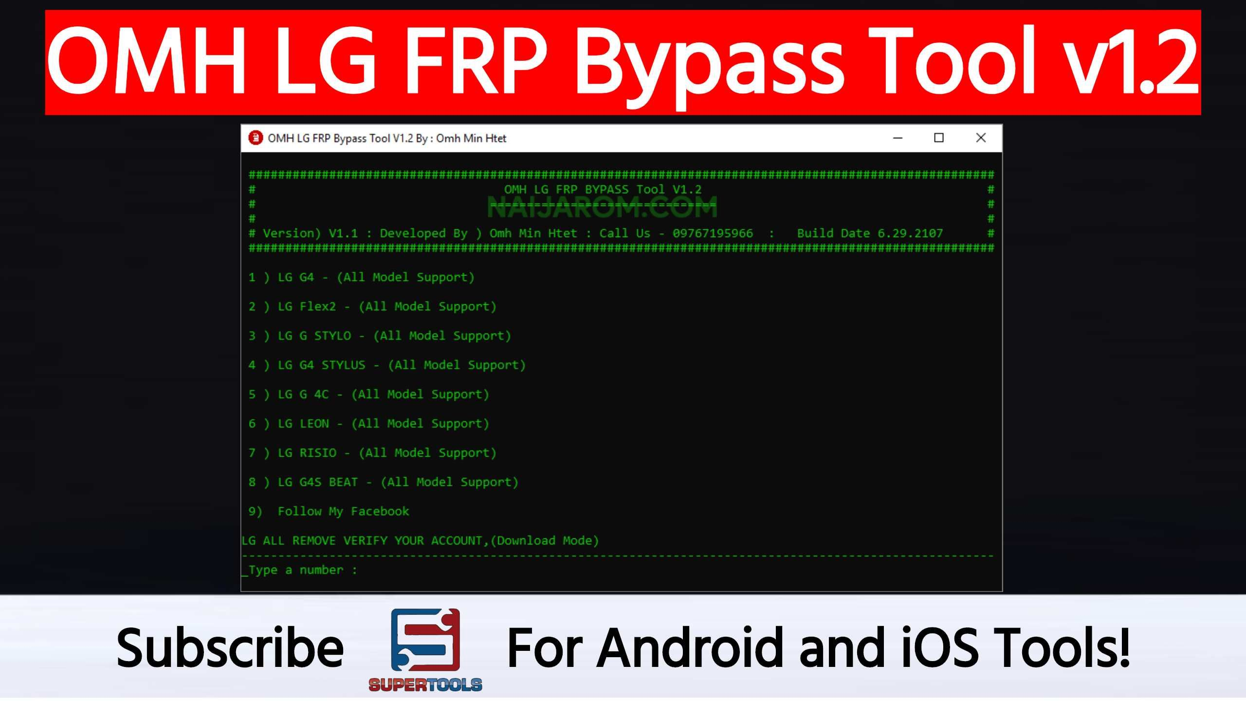 OMH LG FRP Bypass Tool v1 2 helps you to remove or bypass the FRP
