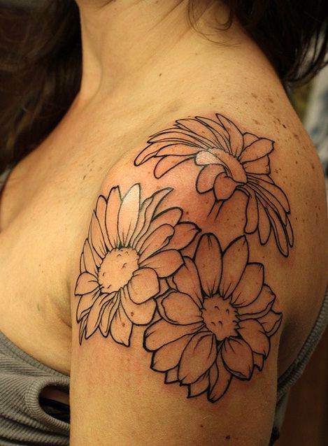 Flower Daisy Tattoo Daisy Tattoo Designs Flower Tattoo Shoulder