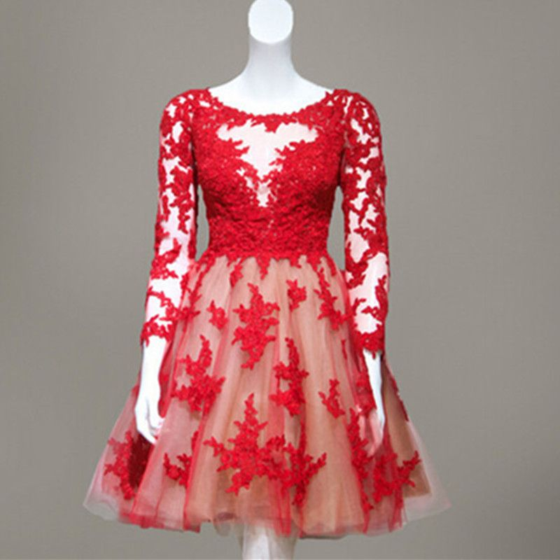 Red Lace Short Homecoming / Prom Dress With Long Sleeves Sheer Back ...