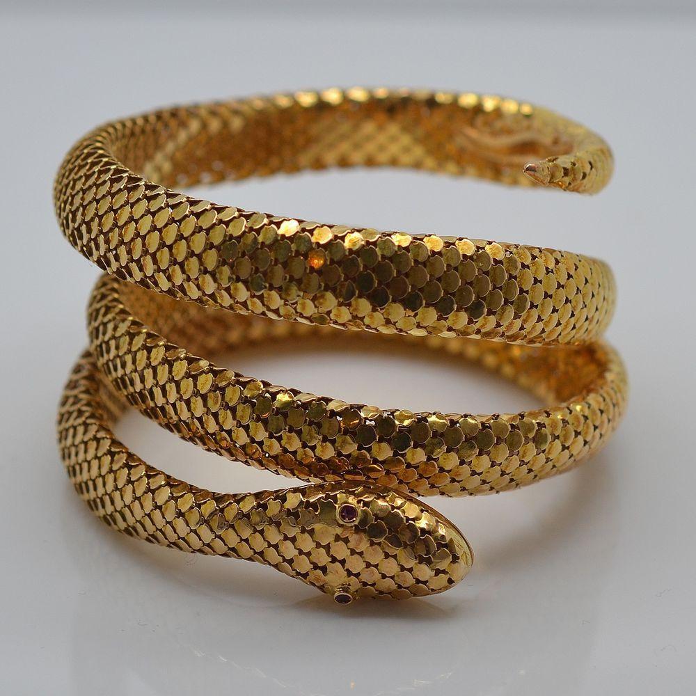 Beautiful 18k 750 Solid Yellow Gold Snake Bracelet Vintage Estate European Snake Bracelet