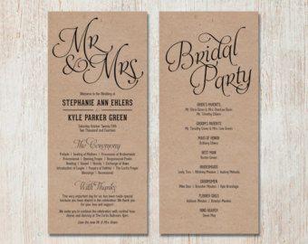 Simple Wedding Program - Customizable - Elegant Design - Simple ...