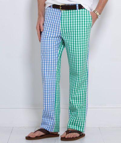 Mens Pants Breakers Multi Colored Gingham Pants For Men