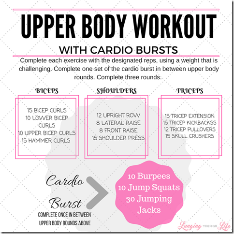 upper body workout with cardio bursts  upper body hiit