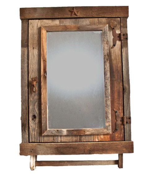 Reclaimed Farmhouse Rustic Medicine Cabinet With Mirror Barnwood