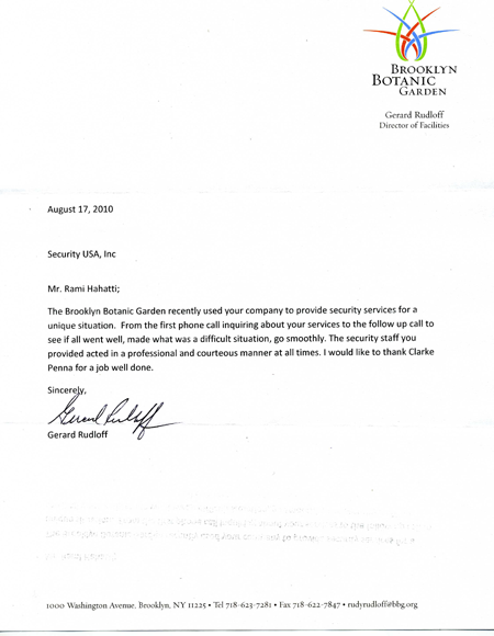 Security Usa Inc Customer Testimonials Appreciation Letter For