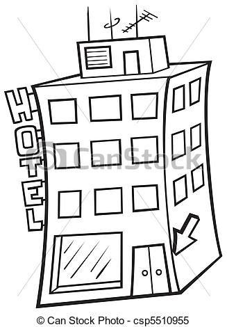 Vector. Hotel. Imagen ´para colorear, pintar, adornar.