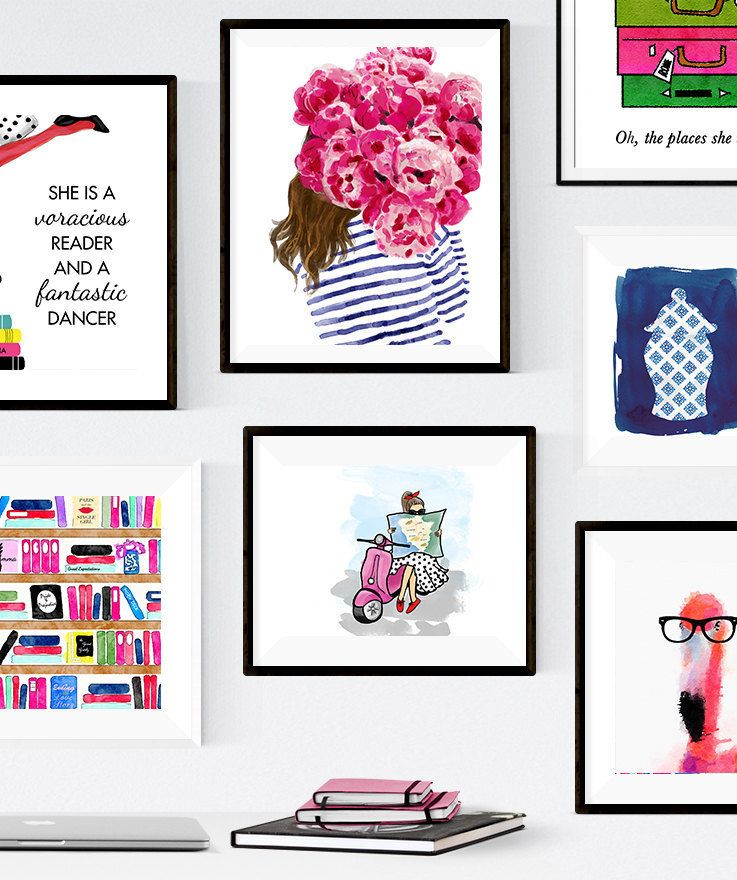 kate spade inspired gallery wall -- colorful, preppy, fun, and