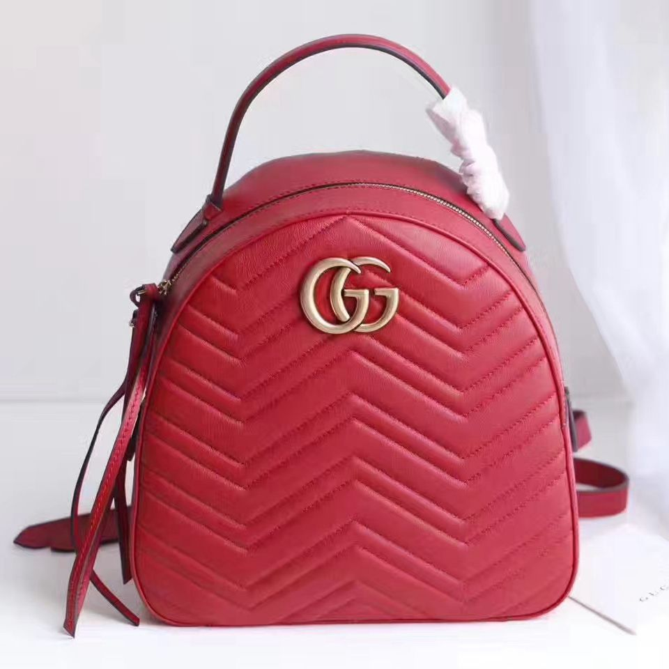 bfb5eec9a3e Gucci GG Marmont Quilted Leather Backpack 476671 Red 2017