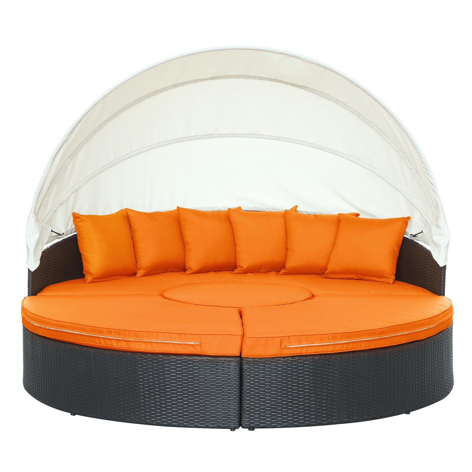Modway Quest Circular Outdoor Wicker Rattan Patio Daybed With Canopy In Espresso Orange Be Sure To Check Out This Awes Daybed Canopy Canopy Outdoor Patio Daybed