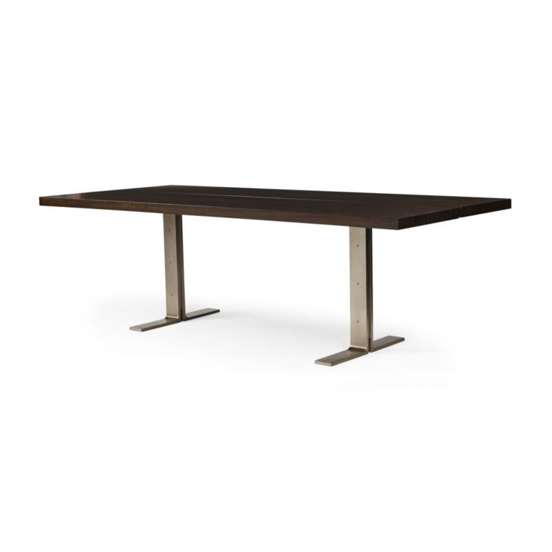 Lily Metal Base Dining Table Slims The Clic Trestle With Clean Lines And A Hint Of Polished Black Walnut Smoothes
