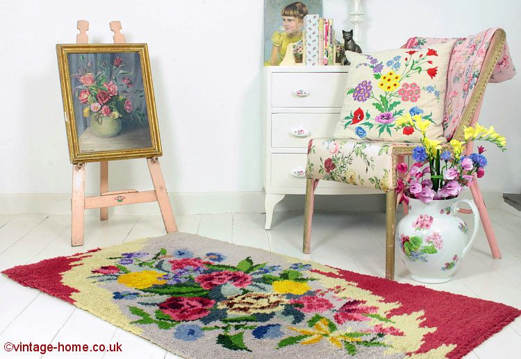Vintage Floral Rug, Rosy Painting and a Comfy Chair: www.vintage-home.co.uk