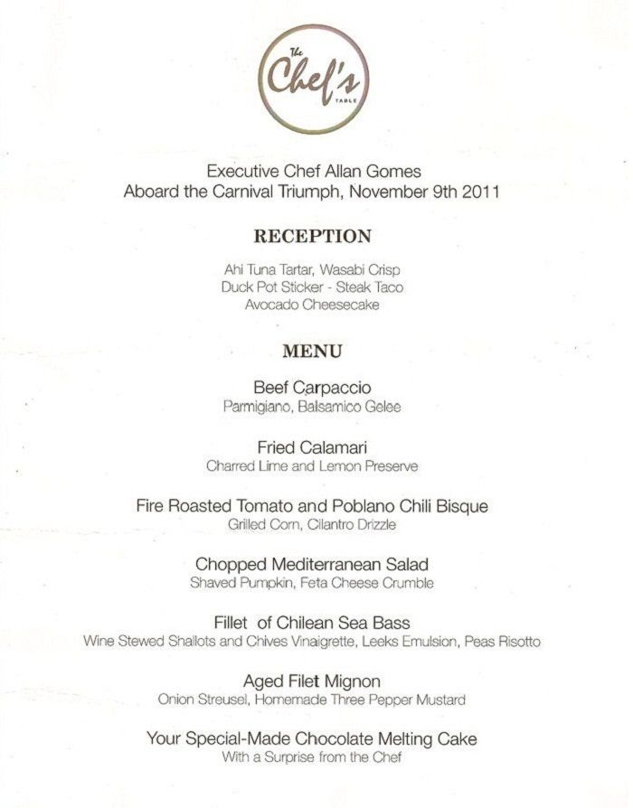 Carnival Cruise Lines  Chef's Table Menu  Cruisin' In The Sea Simple Carnival Cruise Dining Room Menu Inspiration