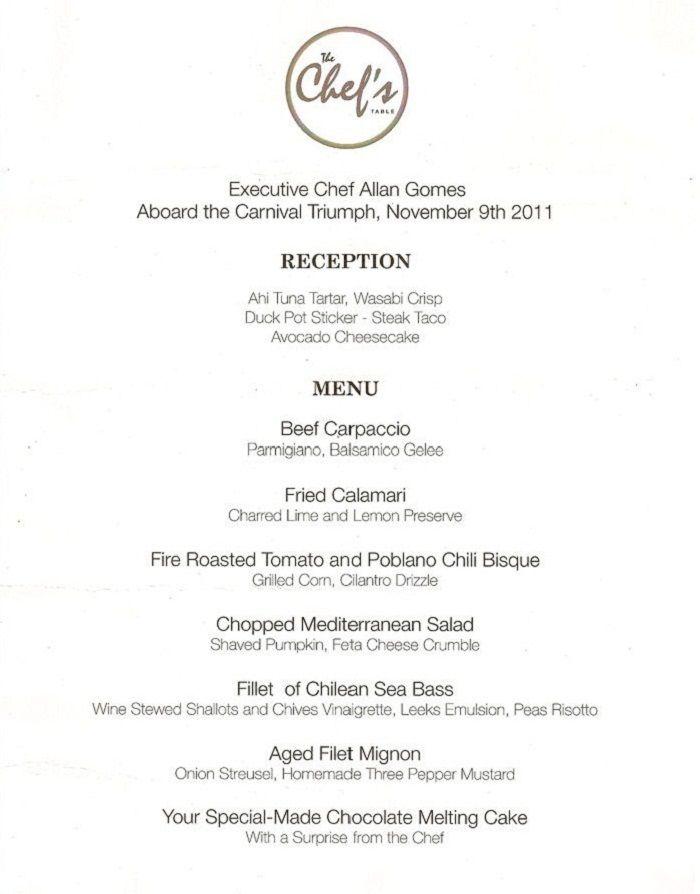 Carnival Cruise Lines - Chef's Table Menu | Cruisin' in the Sea ...