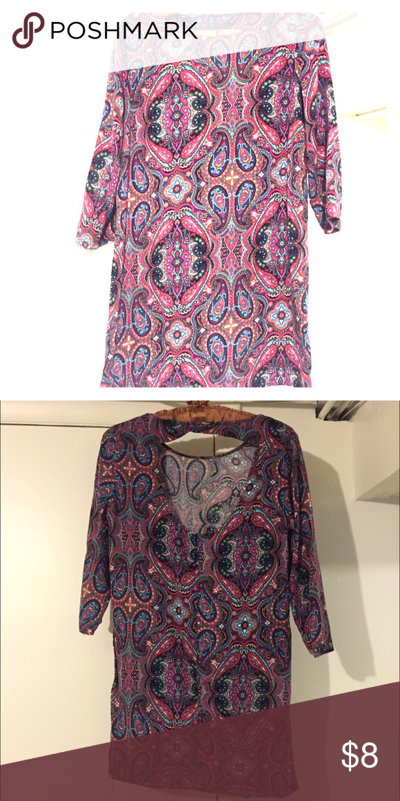 5f37aef3 Forever 21 Paisley Shirt Dress REDUCED! pink paisley shirt dress/dress with  open back, size small Forever 21 Dresses Mini