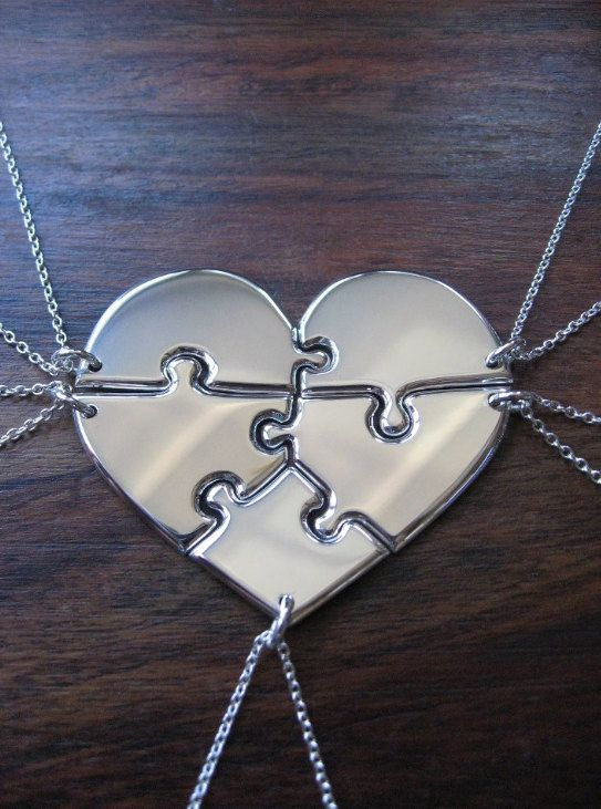 25f8538d7 Five Piece Heart Puzzle Necklace Pendants - Five Piece Necklace Set - Five  Silver Puzzle Charms - Family Necklaces | In The Future | Bridesmaid gifts,  ...