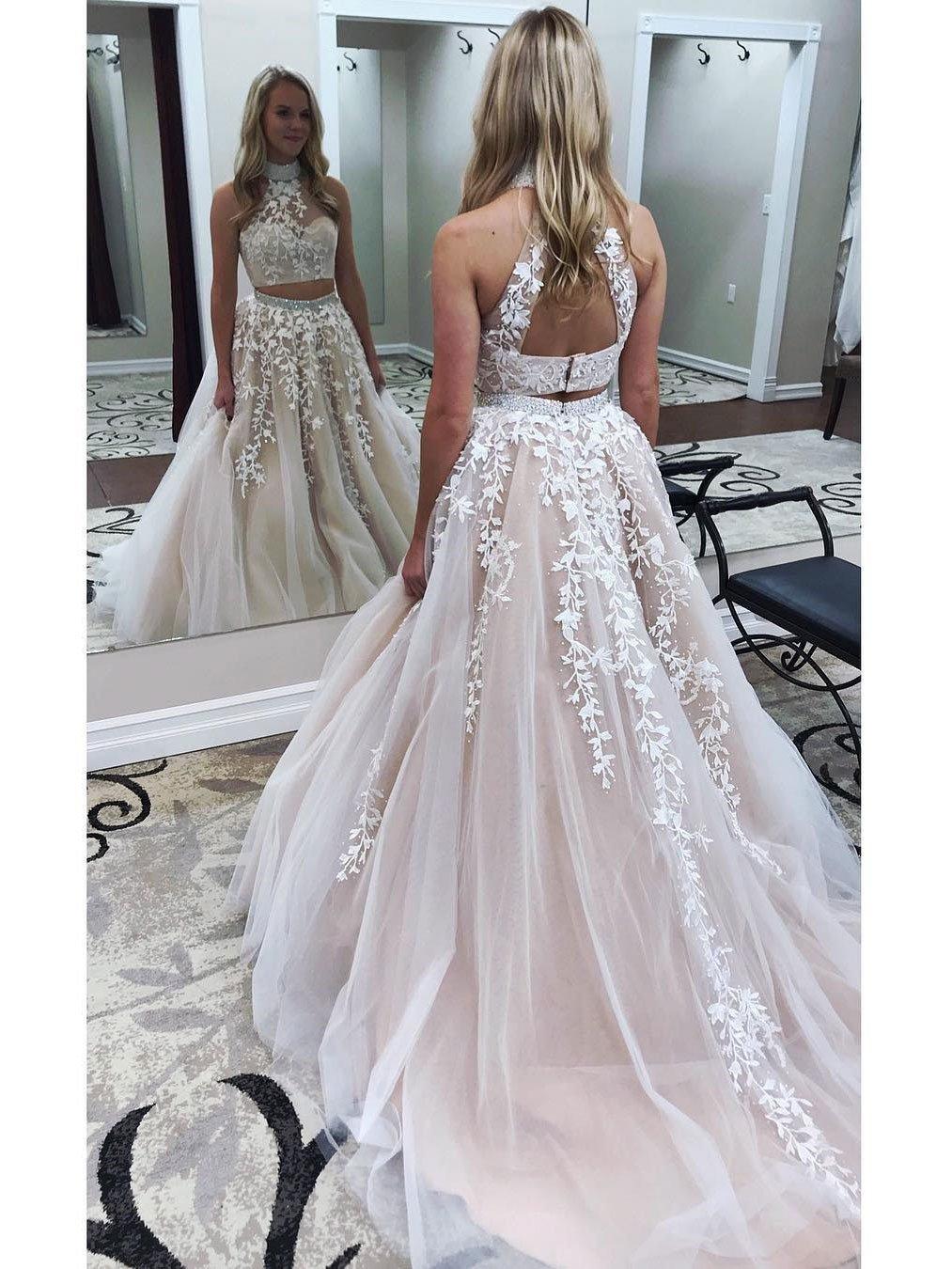 Alineprincess white lace appliqued two piece prom dresses apd