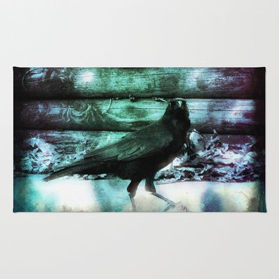 I Am #Crow #Rugs #rug #blue #green #black #white #bird #goth #gothic #bird