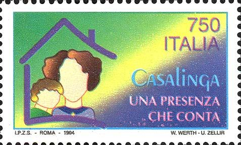 1994 - Importanza del lavoro della casalinga: una donna e un bambino uniti dentro la cornice stilizzata di una casa