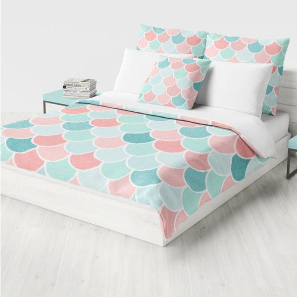 Mermaid Bedding Duvet Cover Coral Teal Aqua Mint Comforter Cover Twin 129 Liked On Polyvore Fe Girls Bedroom Teal Girls Bedroom Coral Coral Duvet Cover