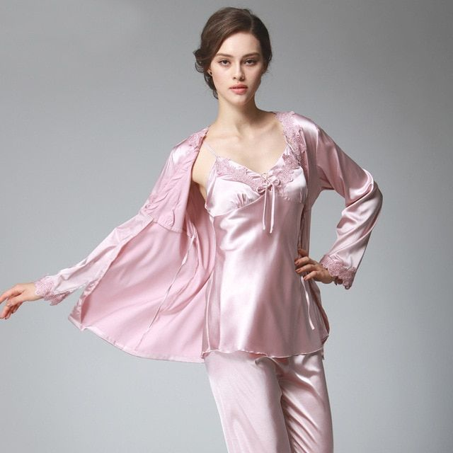 PS036 Ladies Satin Silk Pyjamas Female Sexy Lace V-neck 3 Pieces Pajama Set  Plus Size Full Sleeve Spaghetti Strap Pant Nightwear Review 1458a9df3