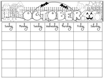 Free Blank Monthly Calendars Editable  TeacherspayteachersCom