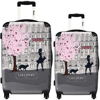 iKase Lollipops Walk Grey 2-piece Hardside Spinner Luggage Set ...