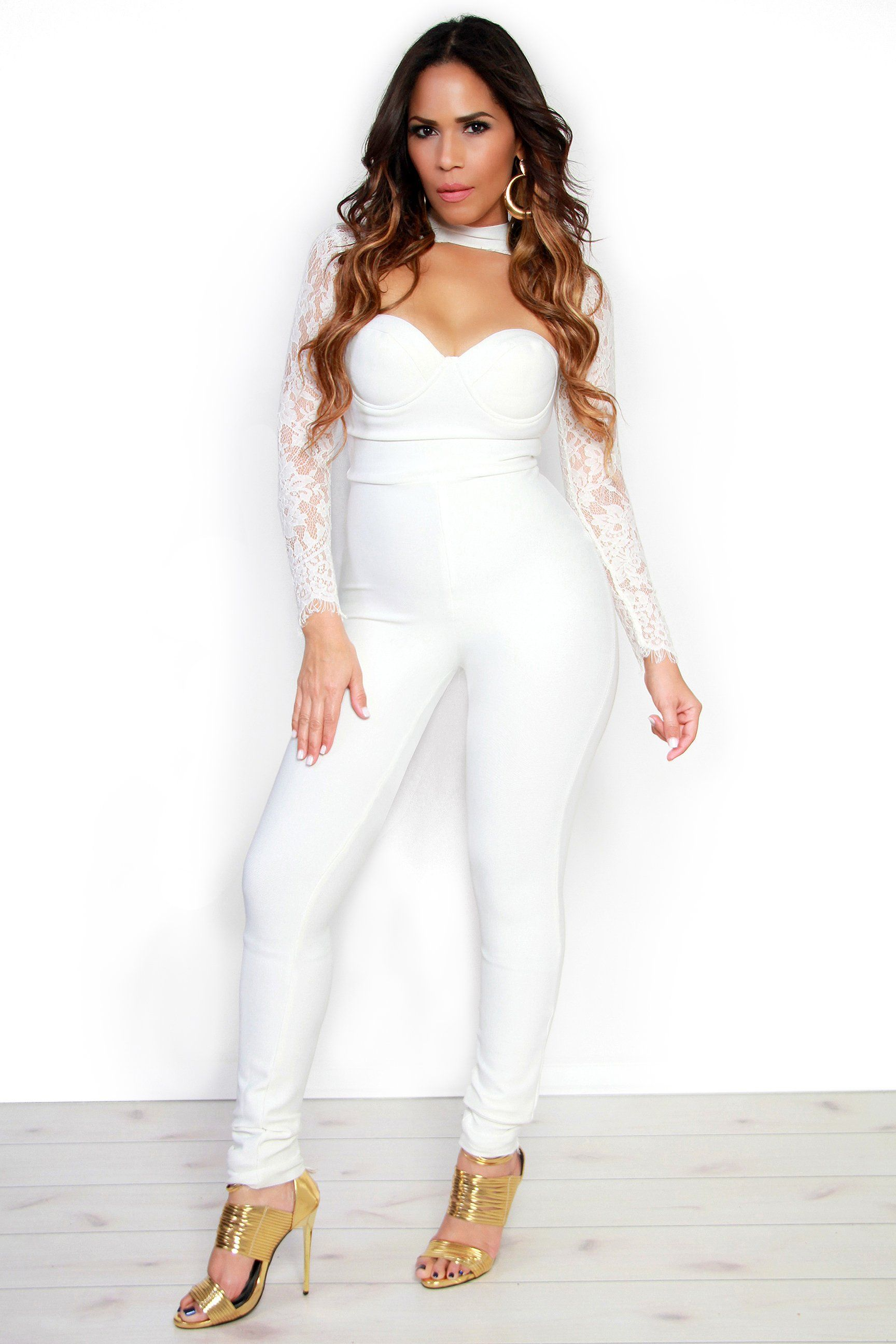 7f02ff1def5 Sexy Lace Long Sleeved White Bandage Jumpsuit