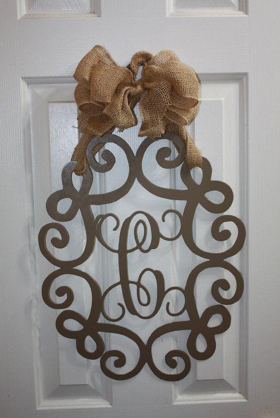 "18"" Custom Metal Monogram - Wall or Door Wreath"