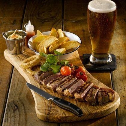 Steak and Chips on Olive Wood Presentation Serving Boardboard