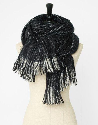 Echarpe à franges en mélange acrylique bicolore noir Femme - Jacqueline Riu 113b99033b1