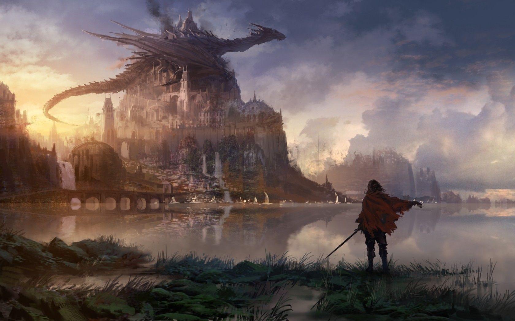 Download 1680x1050 Dragon, Castle, Knight, Red Cape