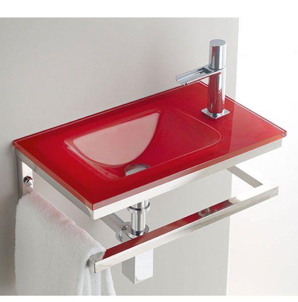 lavabos de cristal de colores con mueble cerca amb
