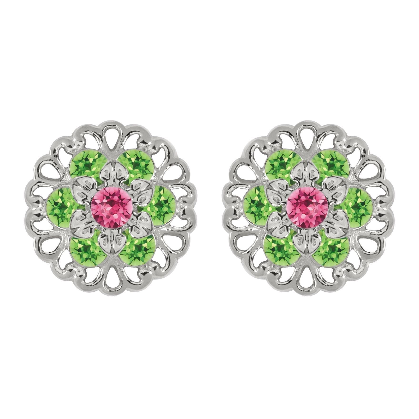 Lucia Costin Sterling Silver Pink Light Green Earrings