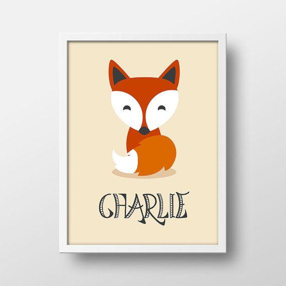 Fox Woodland Nursery Decor - Personalized Fox Art Print ...