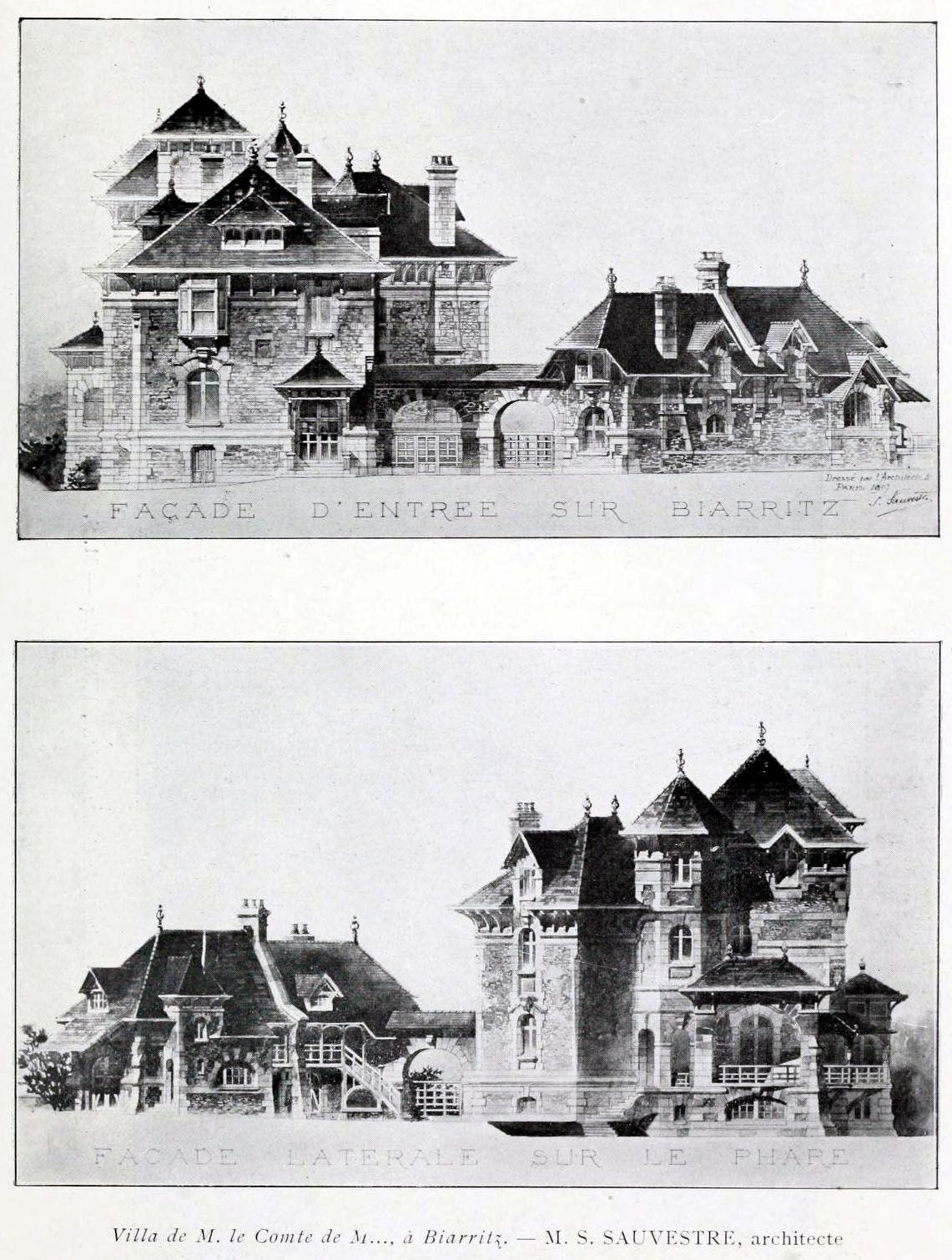 design for a villa for the count of m biarritz sketches pinterest dibujos de. Black Bedroom Furniture Sets. Home Design Ideas