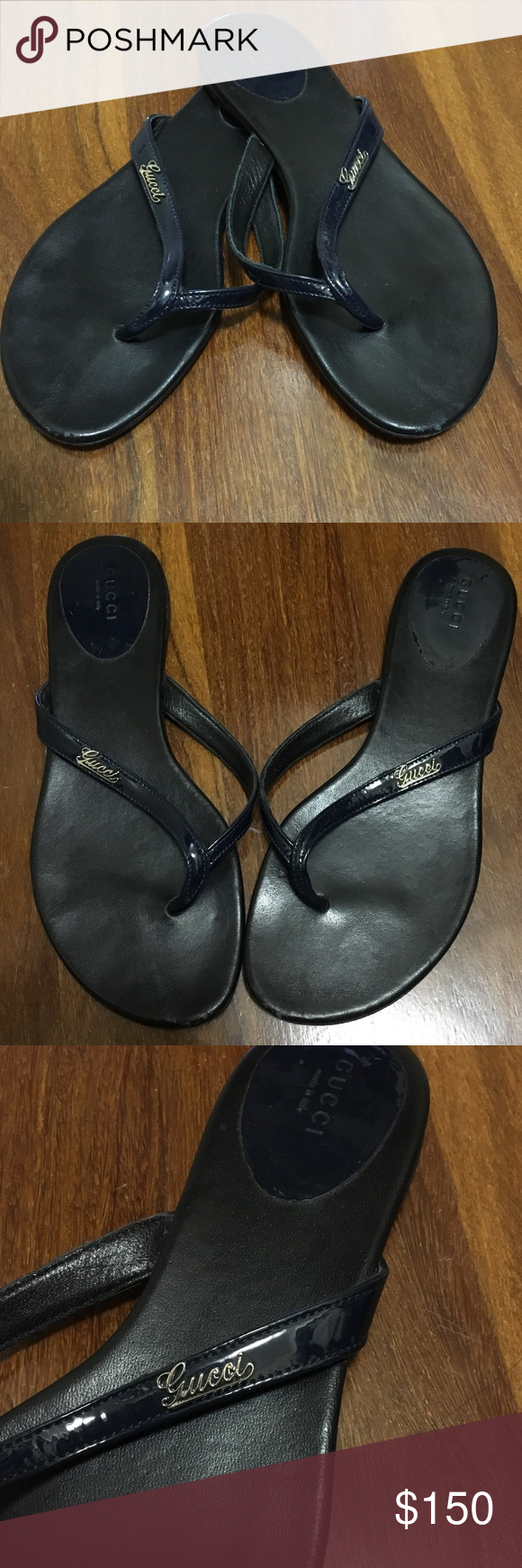 e012507db1c264 AUTHENTIC GUCCI flip flops 💯 AUTHENTIC GUCCI Sandals flip flops. Patent  navy blue with script logos. Small signs of wear see photos.