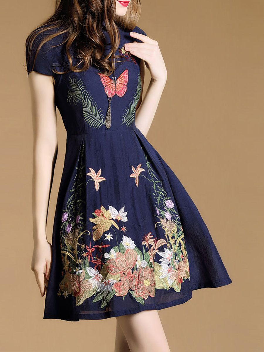 9335b25944 Stylewe Stand Collar Navy Blue Midi Dress A-line Daytime Dress Short Sleeve  Casual Embroidered Floral Dress