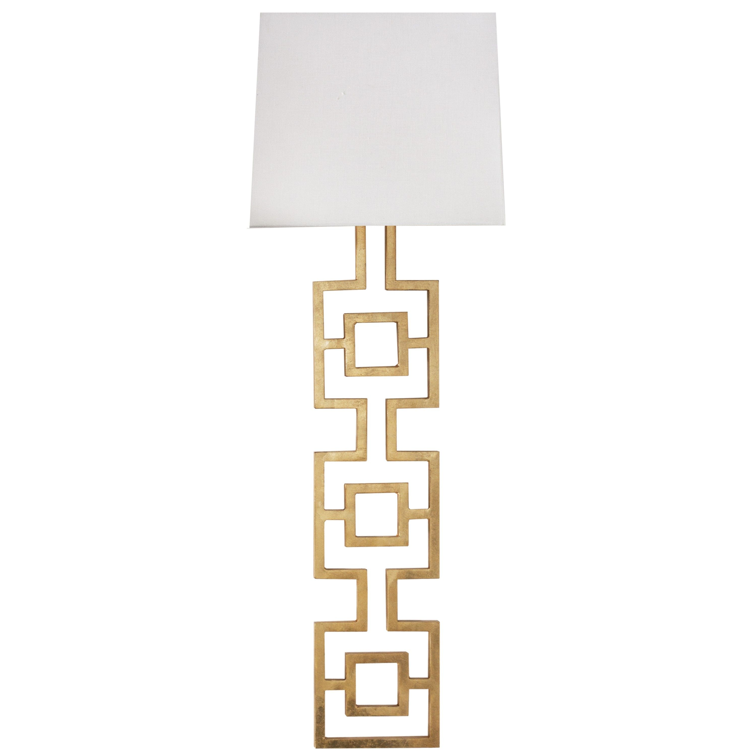 Large Gold Leaf Square Motif Sconce With White Linen Shade