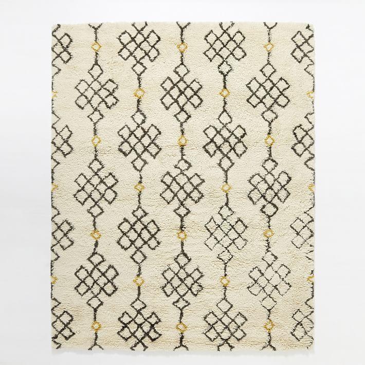 Kilim Rug John Lewis: Fes Wool Shag Rug - Ivory / Slate
