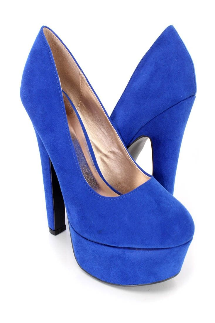 b67f65c4595 These sexy and stylish platform pump heels feature a faux suede upper with  a scoop vamp