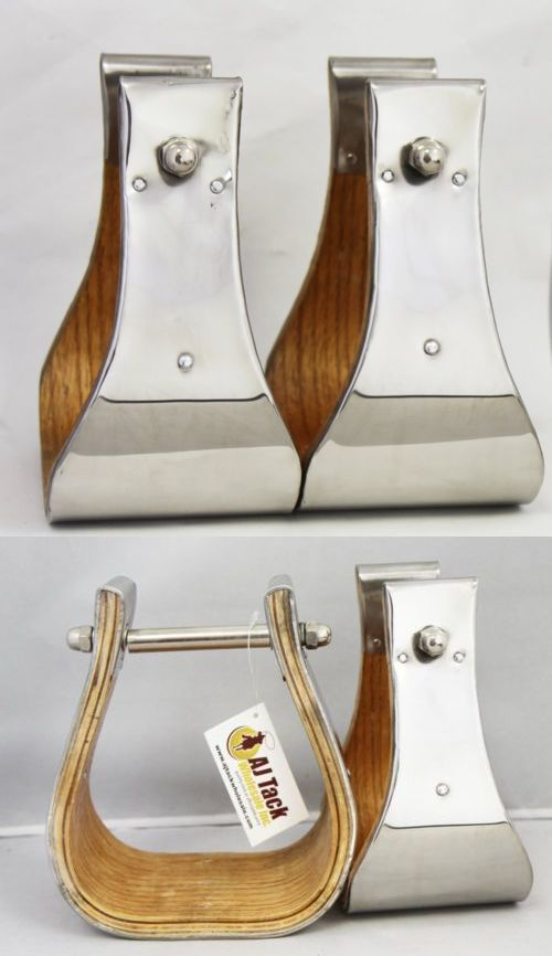 Stirrups 183412: Monel Wooden Bell Stirrups 4 Wide Stainless Steel Metal Hand Bound 3 Neck BUY IT NOW ONLY: $109.99