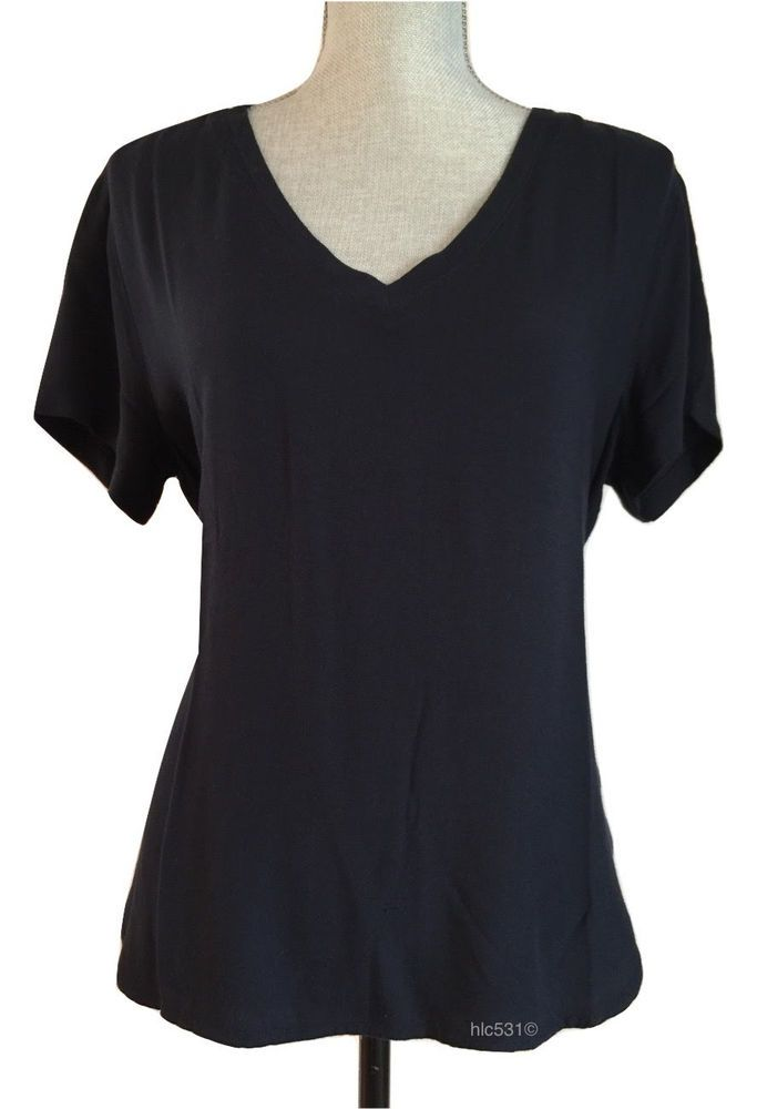 ec193685aafc NEW Anthropologie Cloth & Stone Navy Blue Twill V Neck Tee Shirt Blouse S  Small #Anthropologie #Blouse #Casual