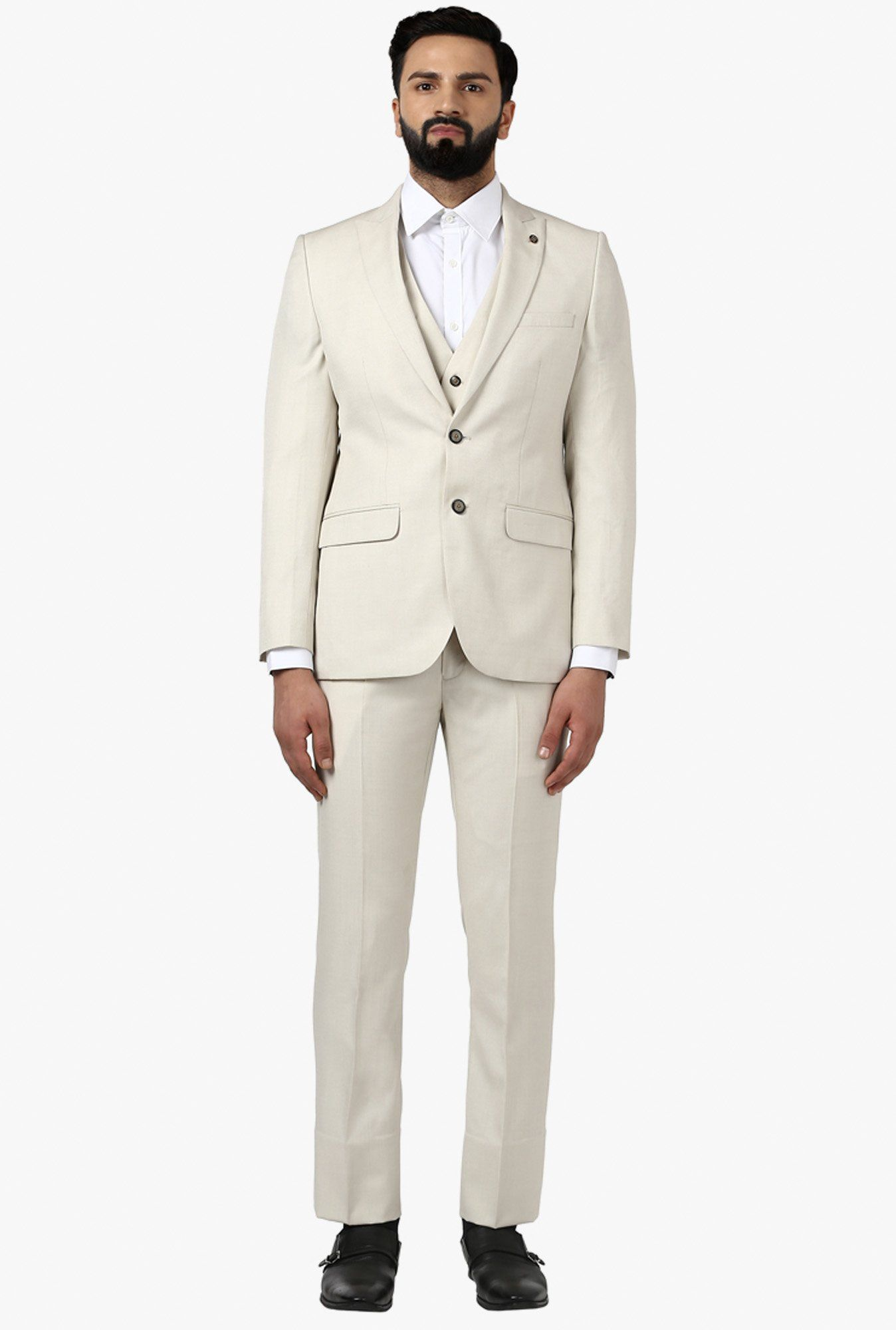 8dc331ea552 Raymond Beige Full Sleeves Notched Lapel Suit