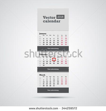 Wall calendar vector template Vertical calendar template with three