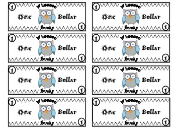Owl themed classroom money system rules classroom for Classroom bucks template